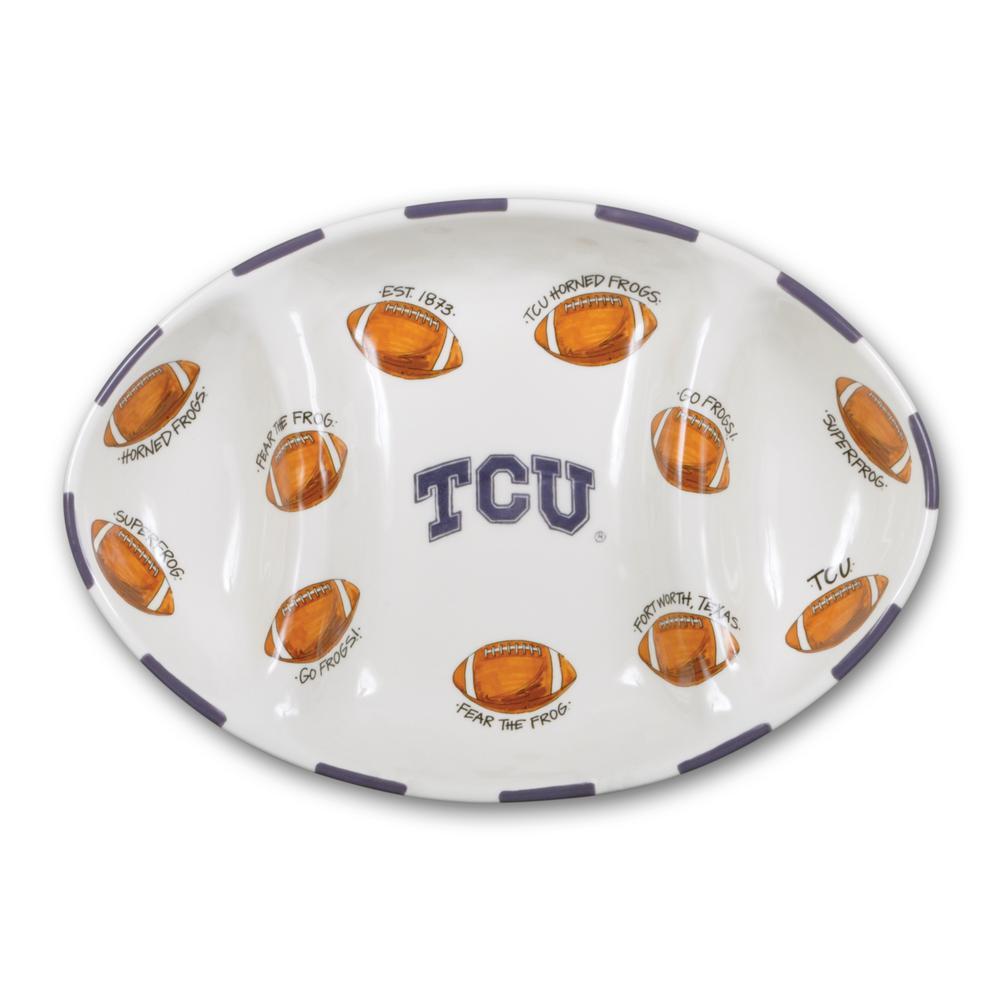 TCU Ceramic Football Tailgating Platter