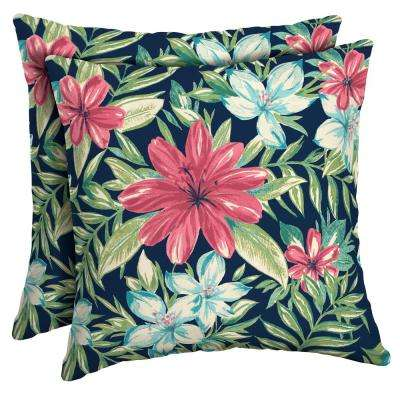 16 x 16 Sapphire Clarissa Tropical Square Outdoor Throw Pillow (2-Pack)