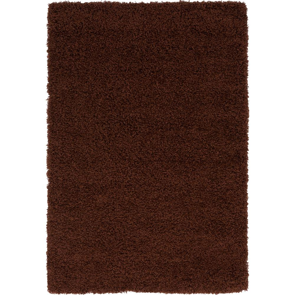 Unique loom solid shag chocolate brown 4 ft x 6 ft area rug 3136091 the home depot for Chocolate brown bathroom rugs