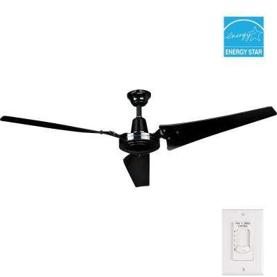 Industrial 60 in. Indoor Black Ceiling Fan with Wall Control