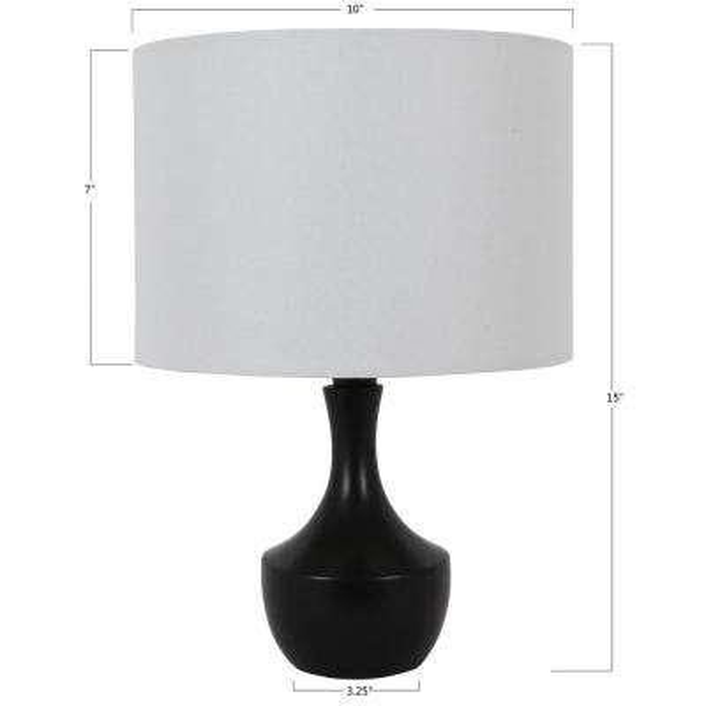 Bordella 15 in. Satin Black Table Lamp with Linen Shade