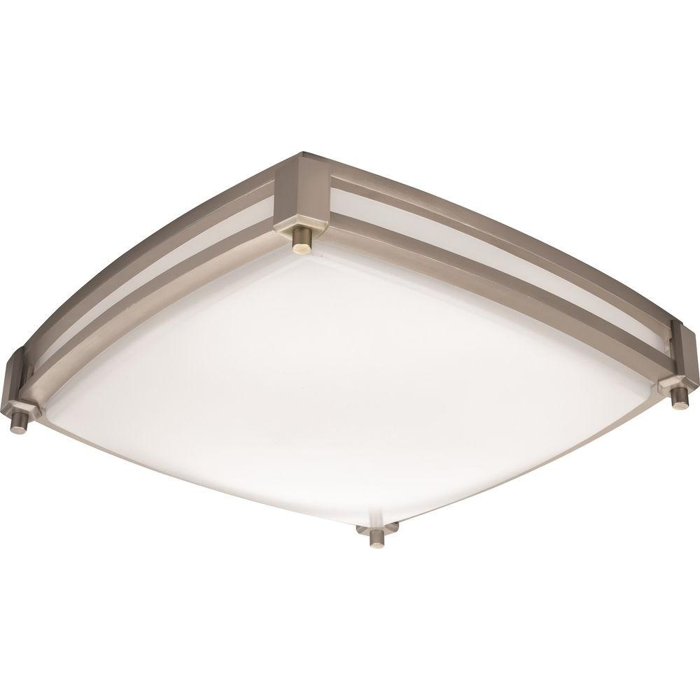 Lithonia Lighting Square Saturn 13 In Brushed Nickel Led Flush