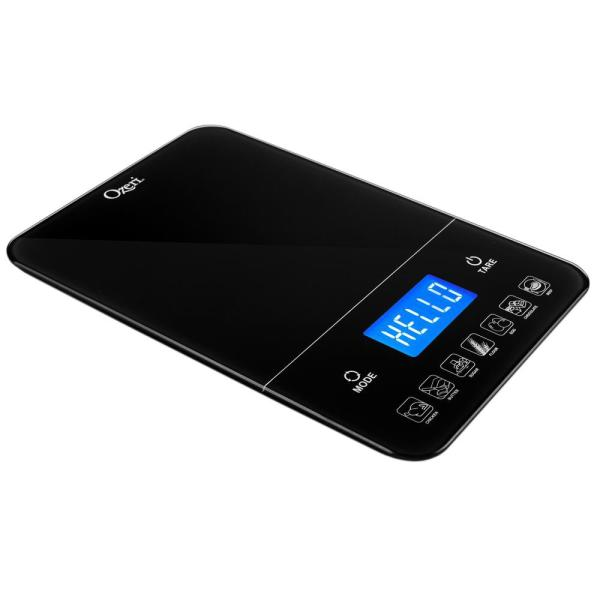Touch III 22 lbs. (10 kg) Digital Kitchen Scale with Calorie Counter in Black Tempered Glass