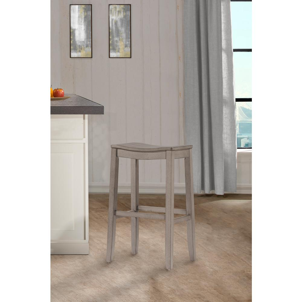 Hilale Furniture Fiddler Aged Gray Non Swivel Backless Counter Stool