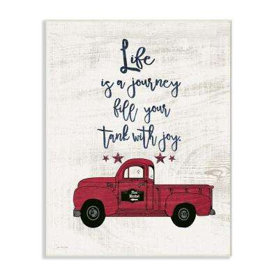 "10 in. x 15 in. ""Fill Your Tank With Joy Vintage Truck Illustration"" by Jo Moulton Printed Wood Wall Art"
