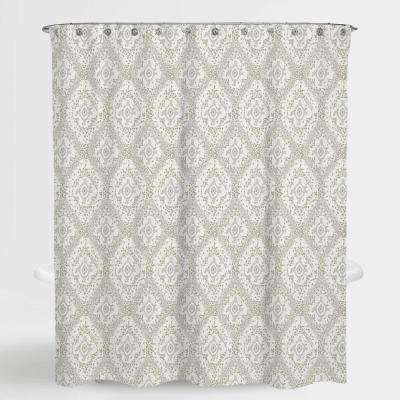 72 in. x 72 in. Damask Beige Richmond Water Repellent Shower