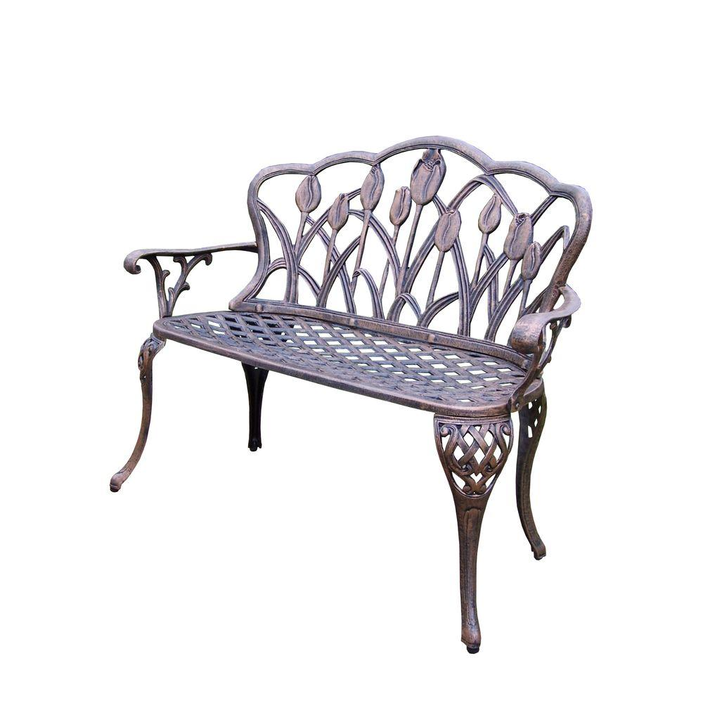 Tulip Cast Aluminum Outdoor Loveseat Bench Hd1006 Ab The Home Depot