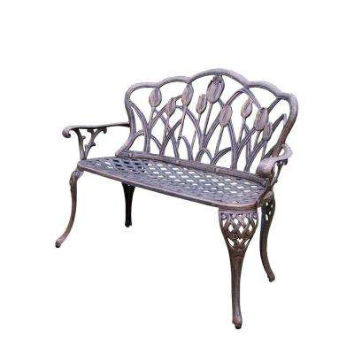 Tulip Cast Aluminum Outdoor Loveseat Bench