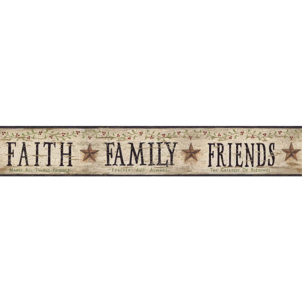 Inspired By Color Faith, Family, Friends Wallpaper Border