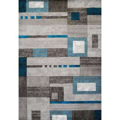 Studio Percussion Aqua 8 ft. x 11 ft. Indoor Area Rug