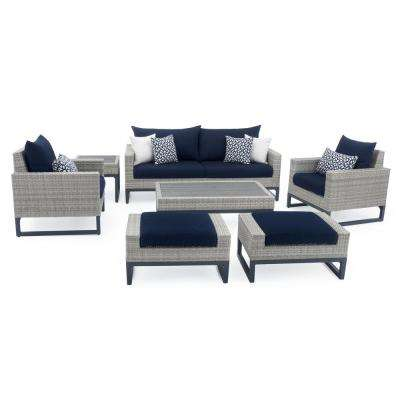 Milo Grey 7-Piece Wicker Patio Deep Seating Conversation Set with Sunbrella Navy Blue Cushions