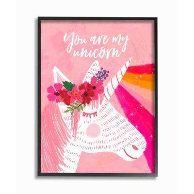 "16 in. x 20 in.  ""You Are My Unicorn Rainbow Pink"" by Mia Charro Framed Wall Art"