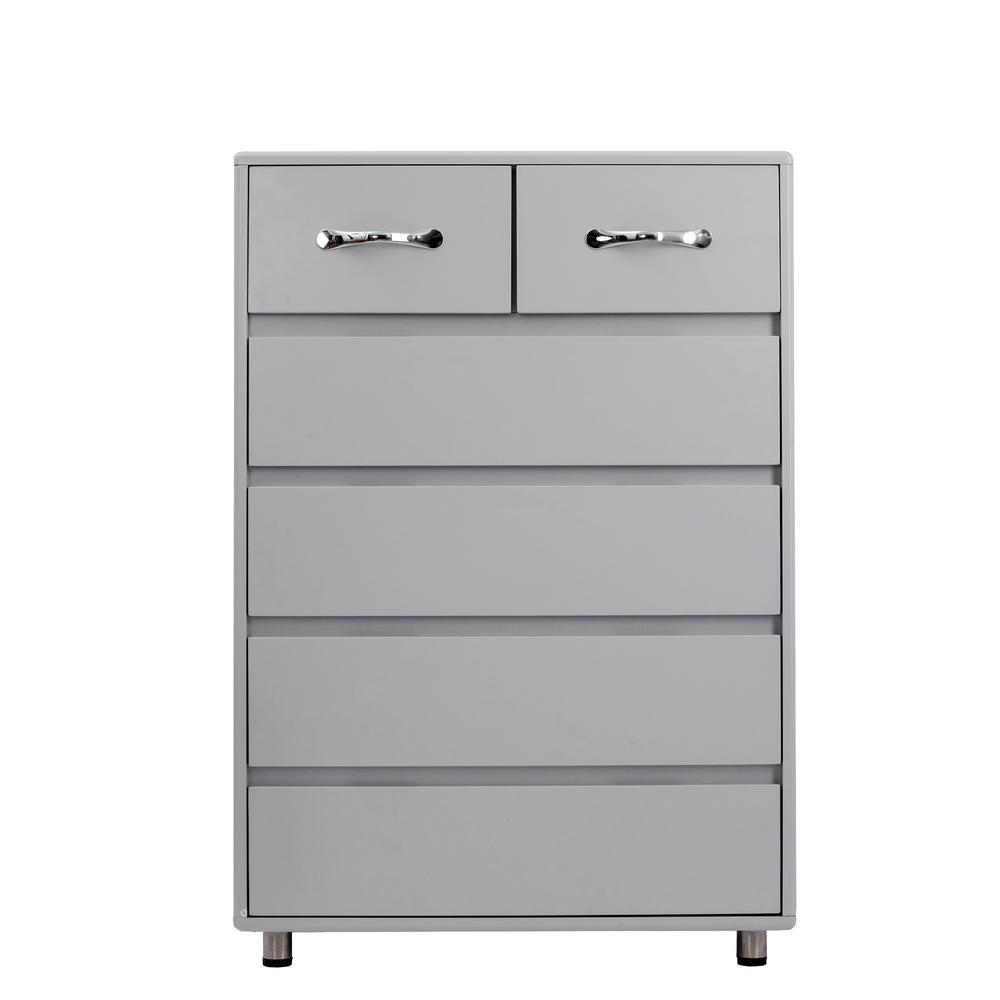 Grey Modern 6-Drawer Dresser