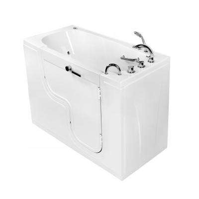 Wheelchair Transfer 60 in. Acrylic Walk-In Whirlpool and MicroBubble Bathtub in White, Faucet Set, RHS 2 in. Dual Drain