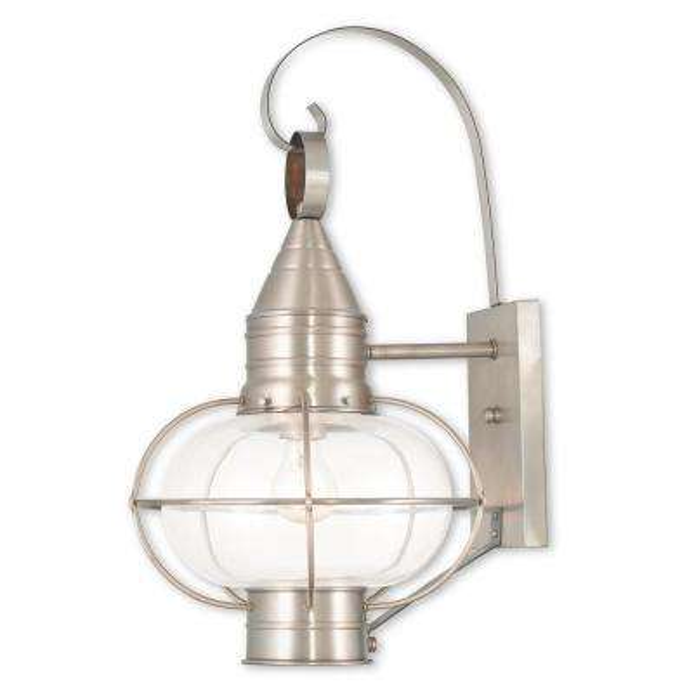 Newburyport 1-Light Brushed Nickel Outdoor Wall Mount Lantern