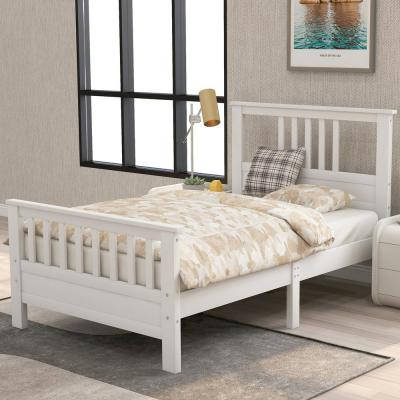 White Twin Wood Platform Bed with Headboard and Footboard