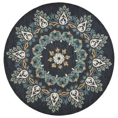 Dazzle Charcoal / Teal 4 ft. x 4 ft. Pine Cone Indoor Round Area Rug