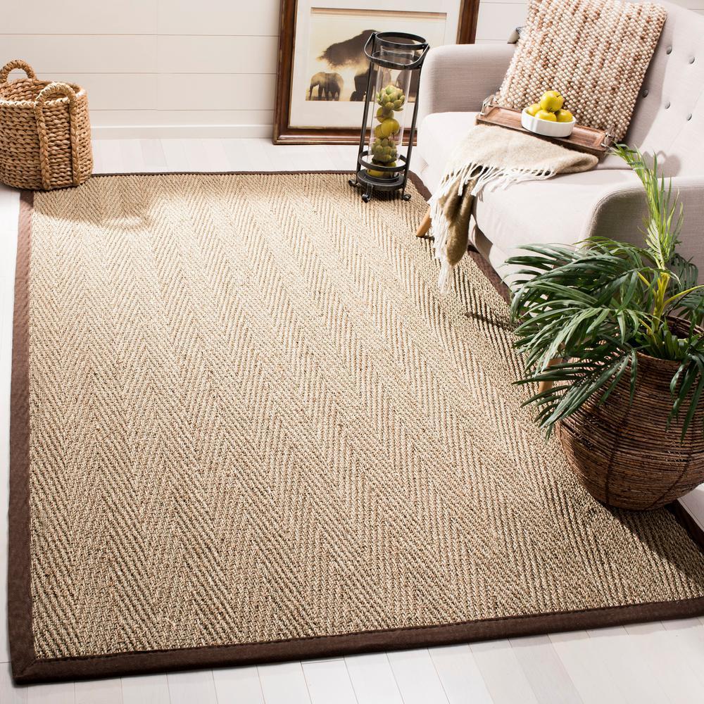 Natural Fiber Beige/Dark Brown 3 ft. x 5 ft. Indoor Area Rug