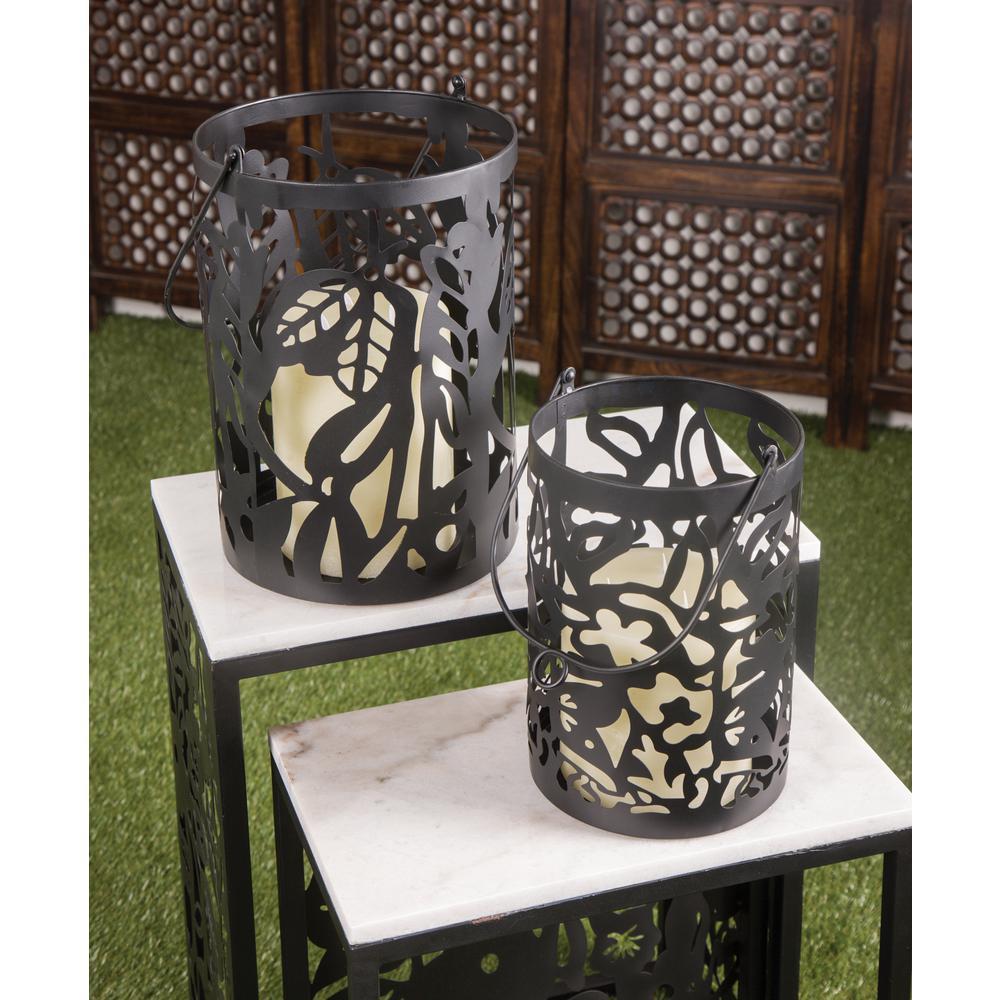 Black Pierced Leaf Design Candle Lanterns (Set of 2)