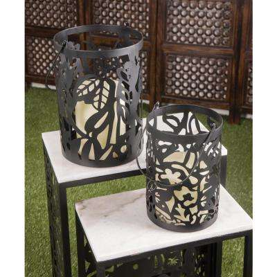 Black Pierced Leaf Design Candle Lanterns (Set of 2)