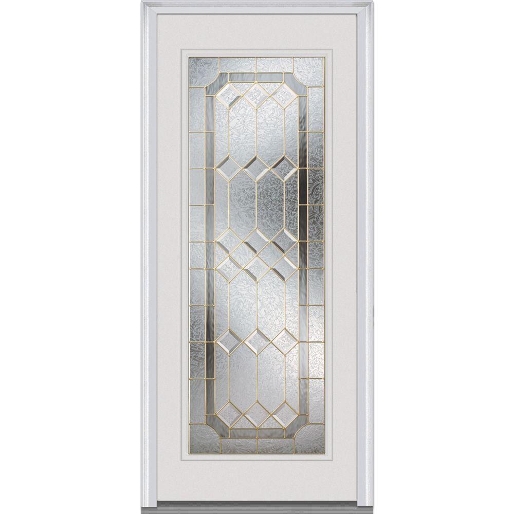 32 in. x 80 in. Majestic Elegance Left-Hand Inswing Full Lite Decorative Primed Fiberglass Smooth Prehung Front Door