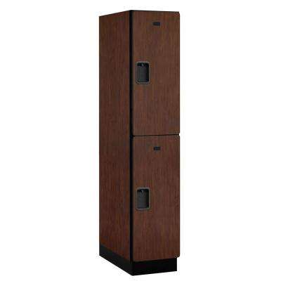 22000 Series Double-Tier 24 in. D 2-Compartments Extra Wide Designer Particle Board Locker in Mahogany