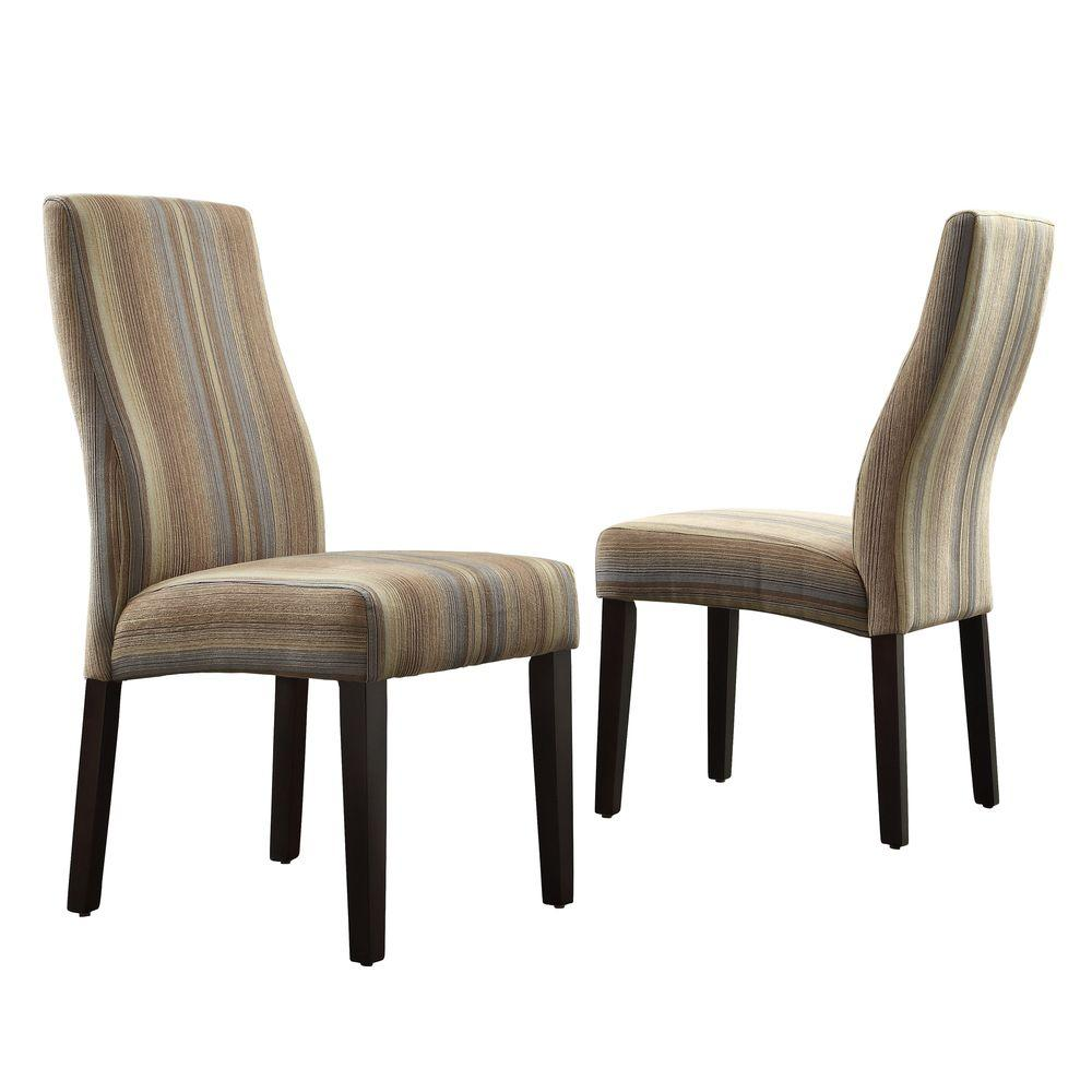 HomeSullivan Everit Wave Back Fabric Dining Chair in Mocha Tonal Stripe (Set of 2)