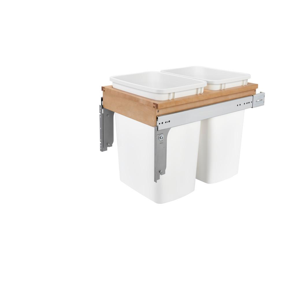 Rev-A-Shelf 17.875 in. H x 15 in. W x 24.5 in. D Double 35 Qt. Pull-Out Top Mount Wood and White Container for 1-1/2 in. Face Frame