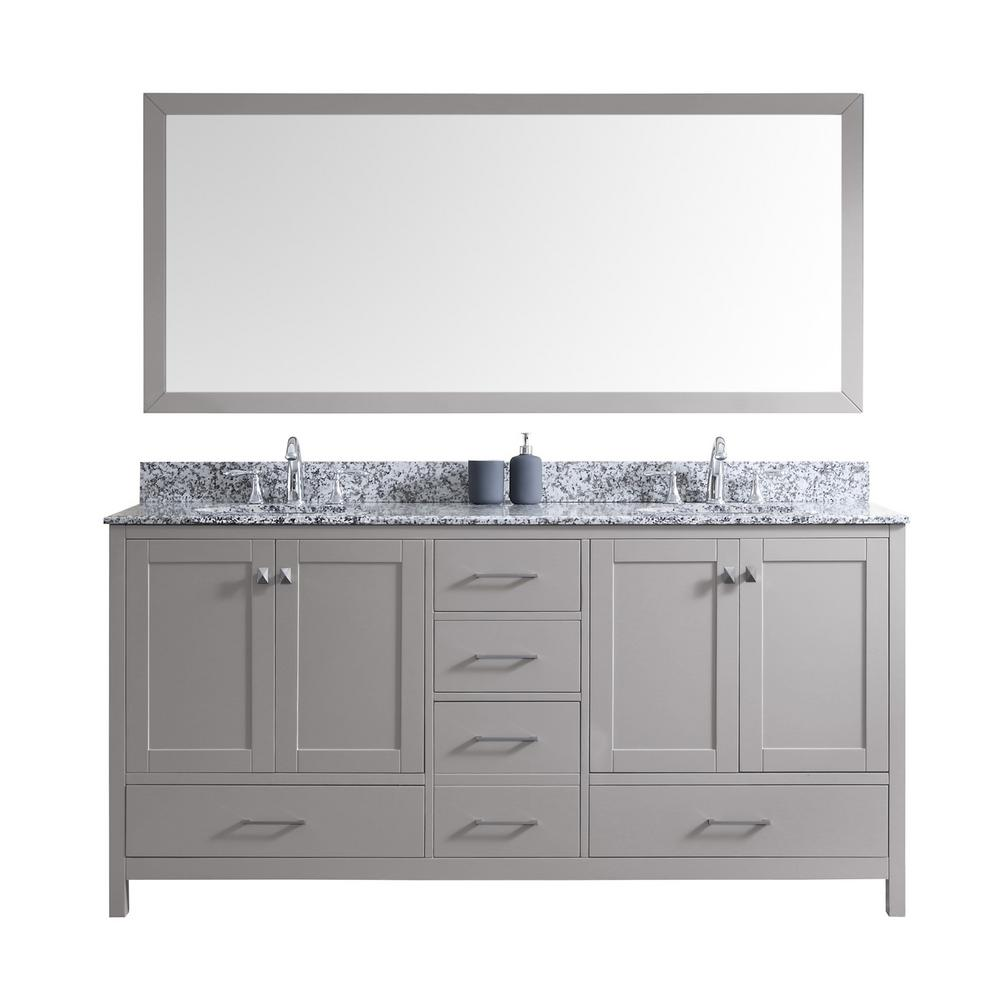 Virtu USA Caroline Madison 72 in. Vanity in Grey with Granite Vanity Top in Arctic White with White Round Basin and Mirror
