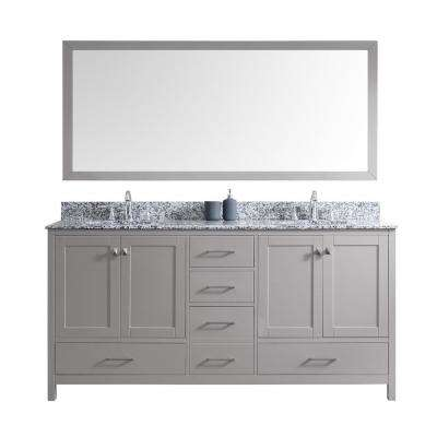 Caroline Madison 72 in. Vanity in Grey with Granite Vanity Top in Arctic White with White Round Basin and Mirror