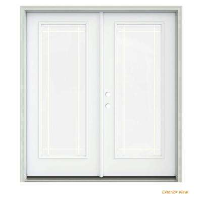 72 in. x 80 in. White Painted Steel Right-Hand Inswing 9 Lite Glass Stationary/Active Patio Door