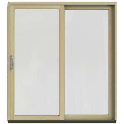 71-1/4 in. x 79-1/2 in. W-2500 Black Right-Hand Clad-Wood Sliding Patio Door with Natural Interior
