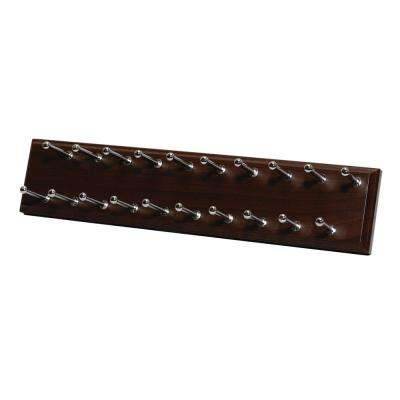20 Hook Sliding Tie Rack Espresso