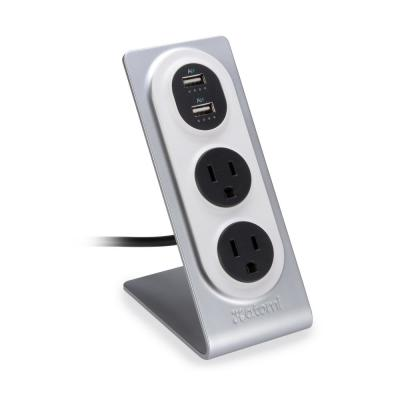 Desktop Surge Protector with USB Charge Ports and Wall Outlets