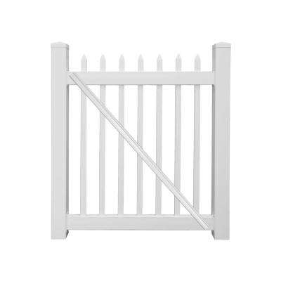 Abbington 4 ft. W x 5 ft. H White Vinyl Picket Fence Gate