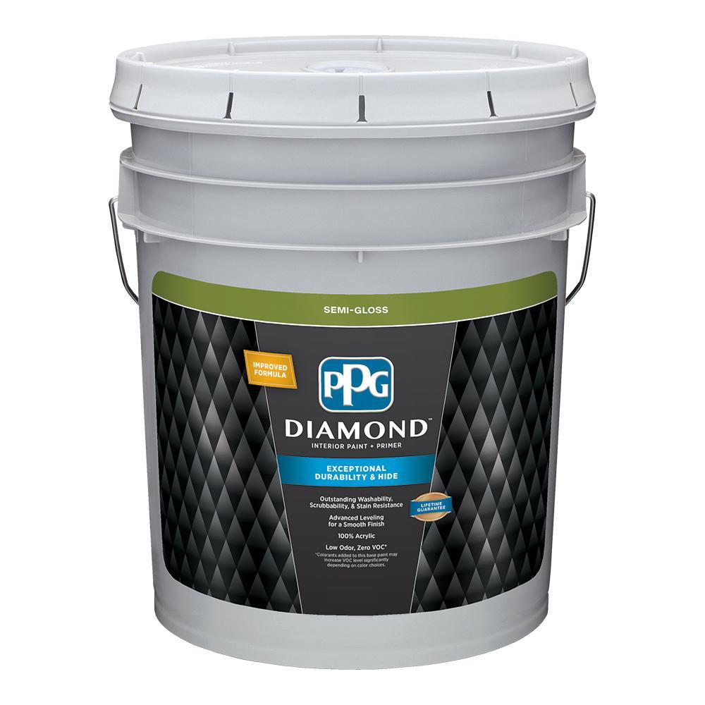 Pure White Semi-Gloss Interior Paint and Primer  sc 1 st  Home Depot & PPG Diamond 5 gal. Pure White Semi-Gloss Interior Paint and Primer ...