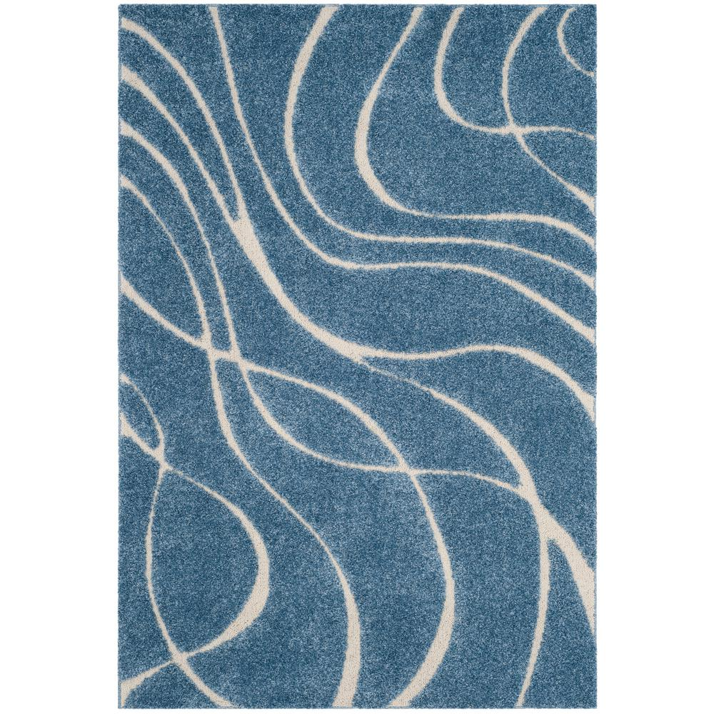 Safavieh Florida Shag Light Blue/Cream (Light Blue/Ivory)...