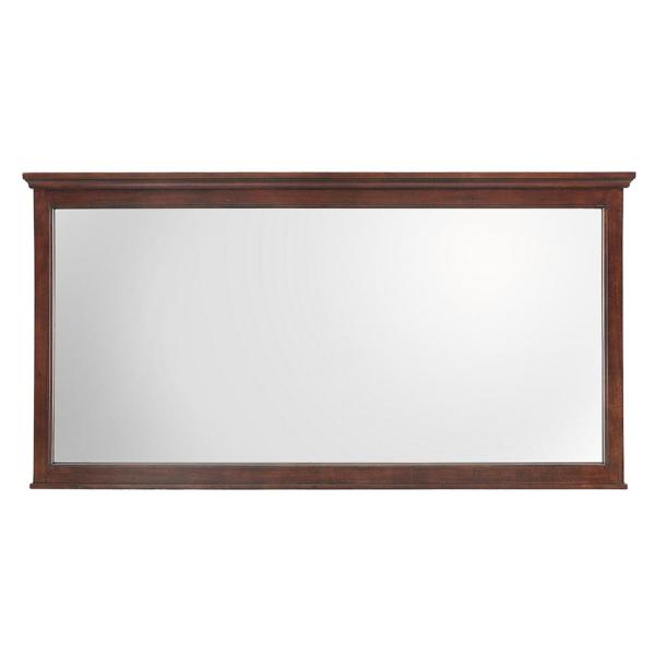 60 in. W x 31 in. H Framed Rectangular  Bathroom Vanity Mirror in Mahogany