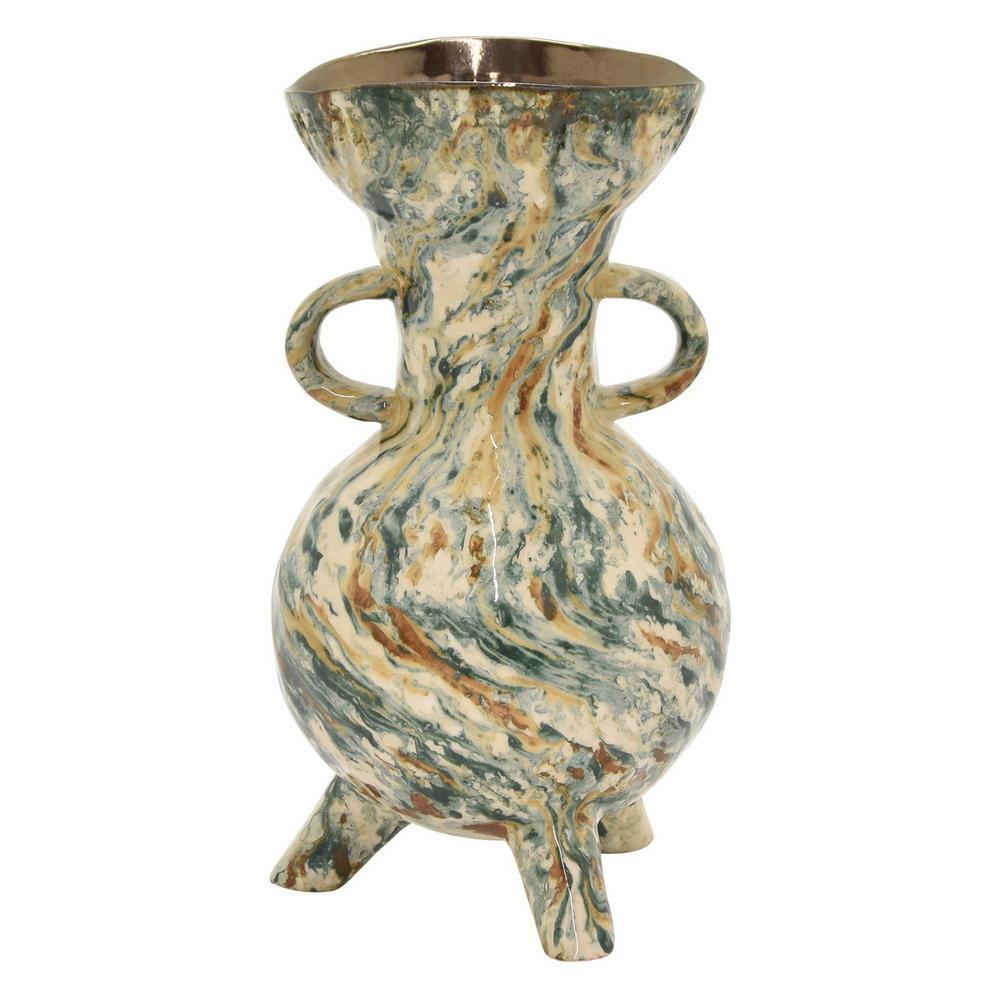 10 in. Porcelain-Ceramic Ceramic Vase Finished in Green