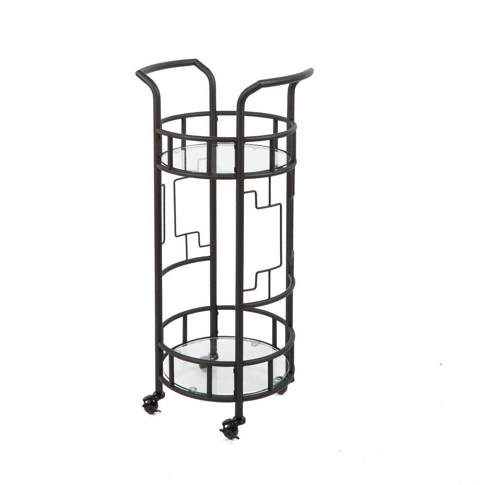 Silverwood Furniture Reimagined Jules Round Hammered Black Bar Cart