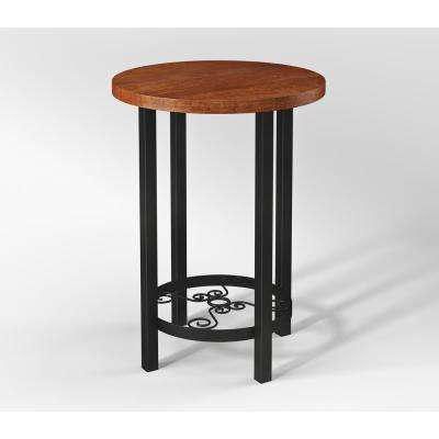 Artesian Brown Scrollwork End Table with Chestnut Finish