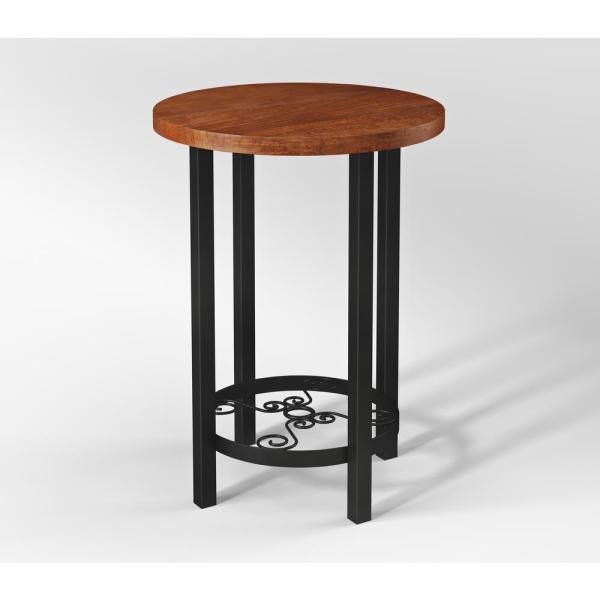 Alaterre Furniture Artesian Brown Scrollwork End Table with Chestnut Finish