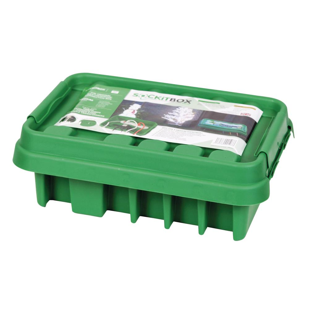 SOCKiT Box 13.5 in. Weatherproof Powercord Connection Box, Green