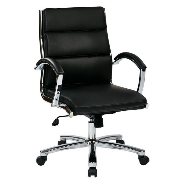 Office Star Products Black Faux Leather Mid Back Executive Office Chair
