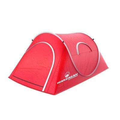 2-Person Red Pop-Up Tent with Carry Bag