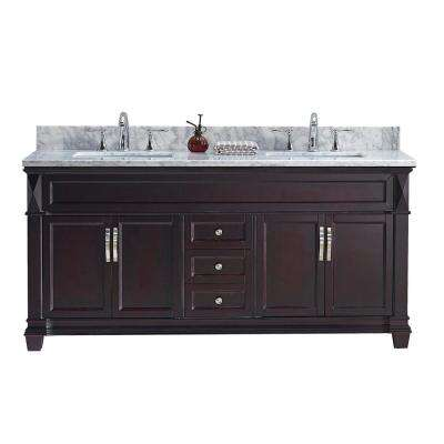 Victoria 60 in. W Bath Vanity in Espresso with Marble Vanity Top in White with Square Basin