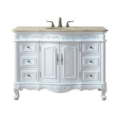 Saturn 48 in. White Single Sink Bathroom Vanity with Marble Vanity Top and White Basin
