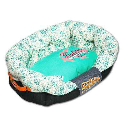 Large Turquoise Blue and Cream White Bed