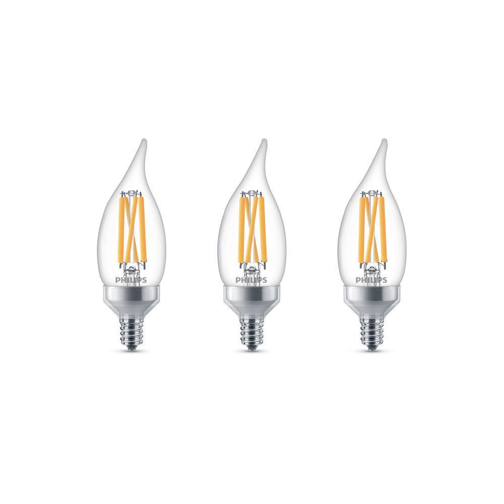 Philips 75-Watt Equivalent BA11 Dimmable Edison Glass LED Candle Light Bulb Bent Tip Candelabra Base Daylight (5000K) (3-Pack)