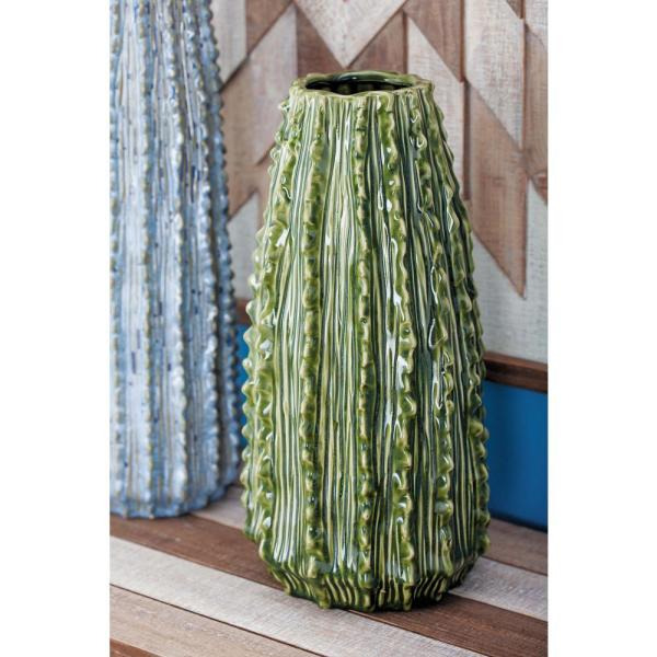14 in. Ceramic Cactus Decorative Vase in Green